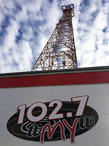 radio tower and sign